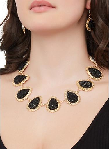 Teardrop Necklace and Drop Earrings,BLACK,large