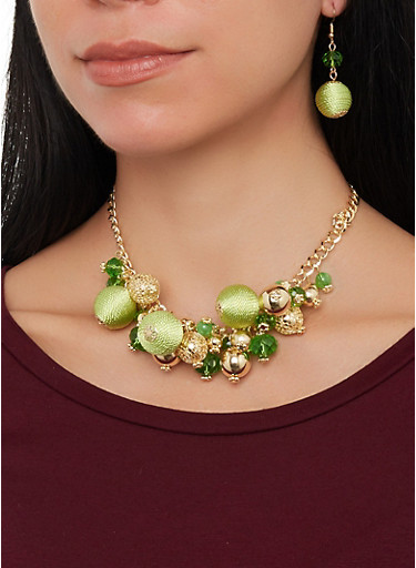 Beaded Necklace and Drop Earrings,GREEN,large