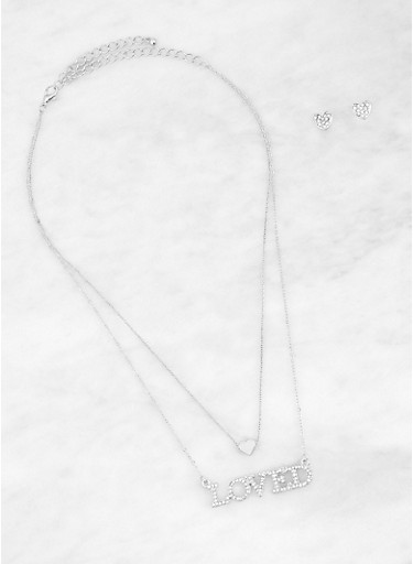 Loved Charm Necklace with Heart Earrings,SILVER,large
