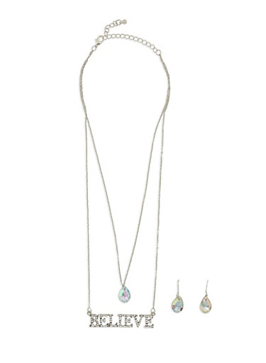 Believe Layered Necklace with Earrings,SILVER,large