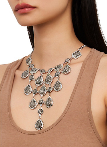 Metallic Stone Bib Necklace and Earrings Set,SILVER,large
