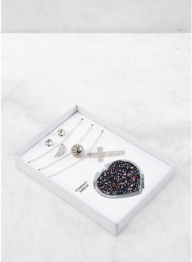 Cross Charm Necklace Trio with Stud Earrings and Compact Mirror,SILVER,large