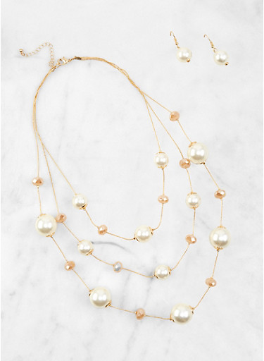 Faux Pearl Beaded Layered Necklace and Earrings,IVORY,large