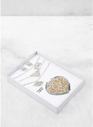 Glitter Compact Mirror with Charm Necklaces and Earrings,SILVER,large