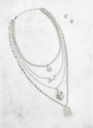 Layered Blessed Necklace and Stud Earrings Set,SILVER,large