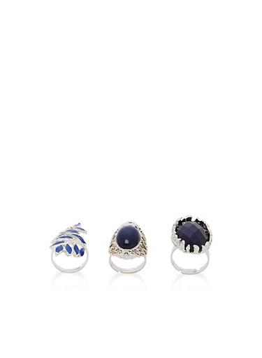 Set of 3 Metallic Rings,SILVER,large