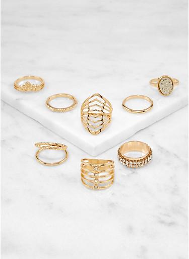 Set of 8 Rhinestone Metallic Rings,GOLD,large