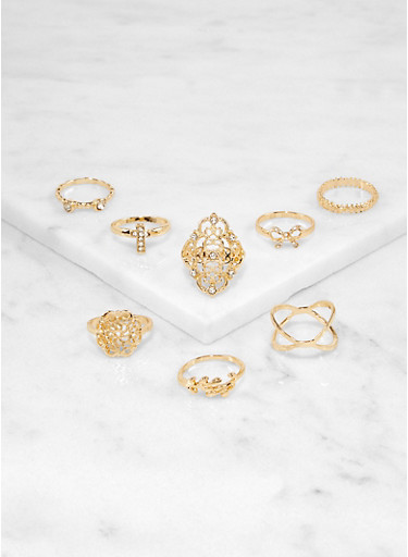 Set of 8 Cross and Bow Metallic Rings,GOLD,large