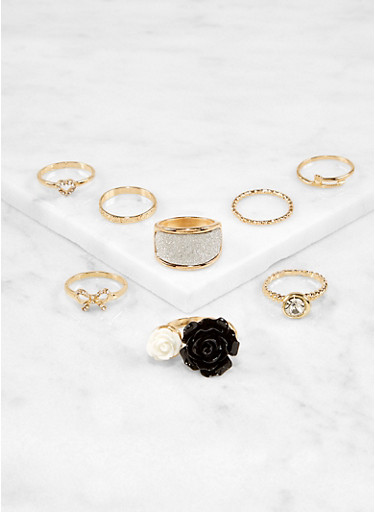 Set of 8 Flower and Glitter Rings,GOLD,large
