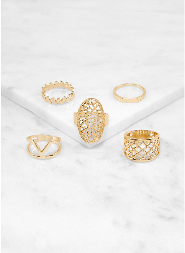 Set of 8 Rhinestone Cut Out Rings,GOLD,large