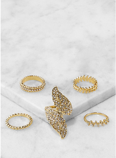 Set of 5 Assorted Metallic Rings,GOLD,large