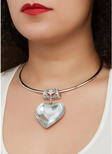 Large Heart Pendant Collar Necklace with Stud Earrings,SILVER,large