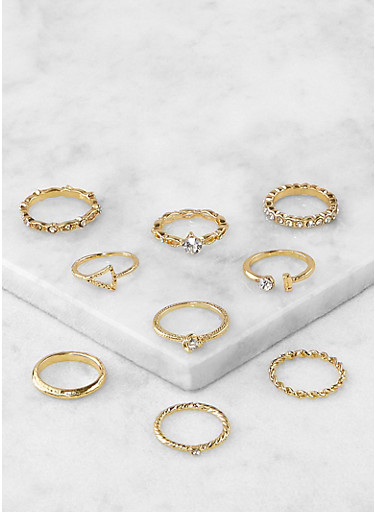 Set of Assorted Rhinestone Metallic Rings,GOLD,large