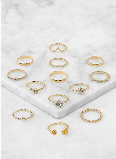 Set of 12 Metallic Rings,GOLD,large