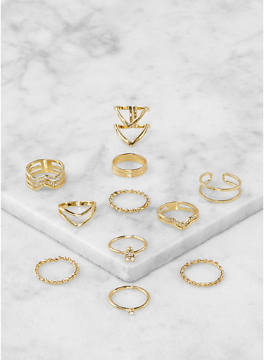 Assorted Metallic Rings Set,GOLD,large