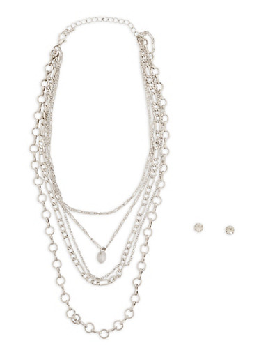 Layered Chain Necklace with Earrings,SILVER,large