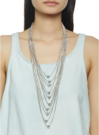 Layered Beaded Metallic Necklace,SILVER,large