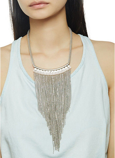 Metallic Fringe Necklace with Stud Earrings Set,SILVER,large