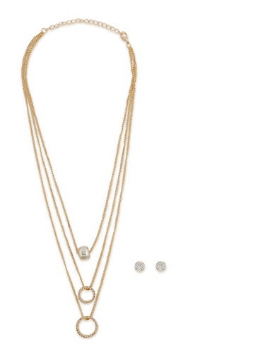 Layered Charm Necklace with Stud Earrings - 1138071210802