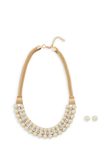 Faux Pearl Collar Necklace with Matching Stud Earrings,IVORY,large