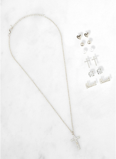 Cross Necklace and Blessed Stud Earrings Set,SILVER,large