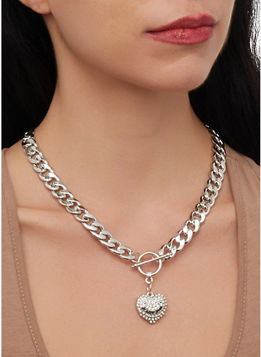 Heart Chain Toggle Necklace and Bracelet with Earrings,SILVER,large