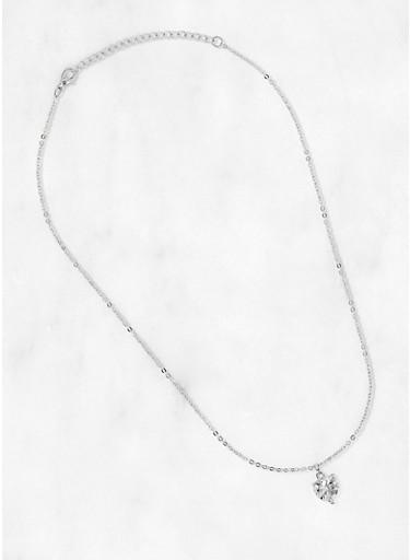 Heart Rhinestone Necklace,SILVER,large