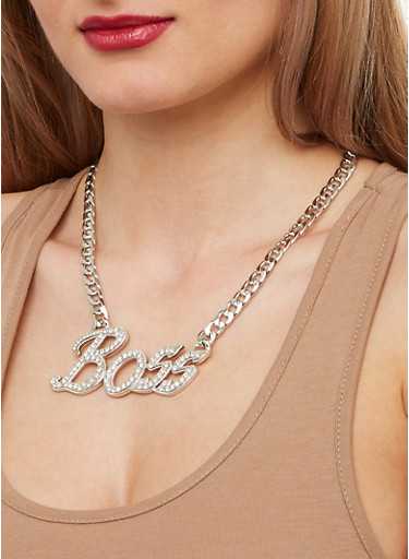 Boss Curb Chain Necklace and Stud Earrings,SILVER,large