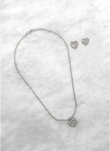 Rhinestone Heart Charm Necklace and Earrings,SILVER,large
