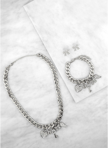 Lock Charm Chain Necklace with Bracelet and Bow Earrings,SILVER,large