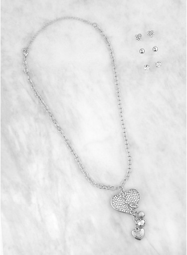 Stud Earring Trio with Heart Charm Chain Necklace,SILVER,large