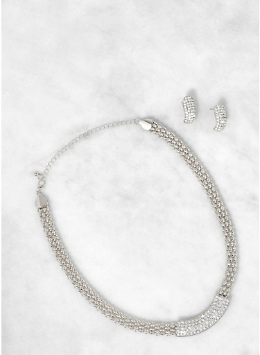 Rhinestone Bar Necklace with Stud Earrings,SILVER,large
