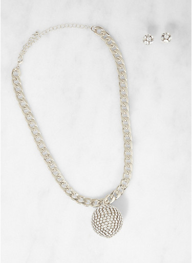 Rhinestone Ball Curb Chain Necklace with Earrings,SILVER,large