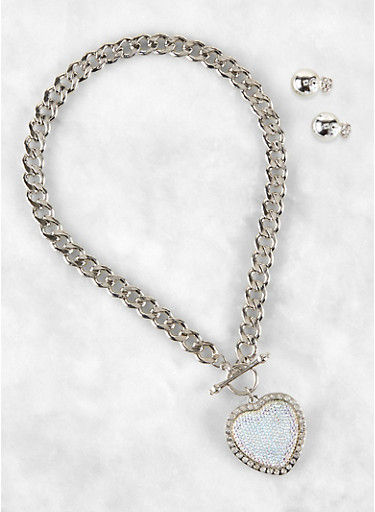 Heart Curb Chain Necklace with Reversible Stud Earrings,SILVER,large