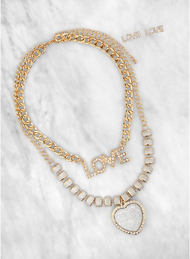 Rhinestone Love Chain Necklace and Earrings,GOLD,large