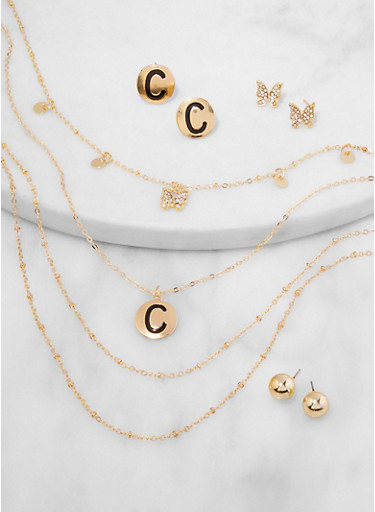 C Initial Layered Necklace and Stud Earring Trio,GOLD,large