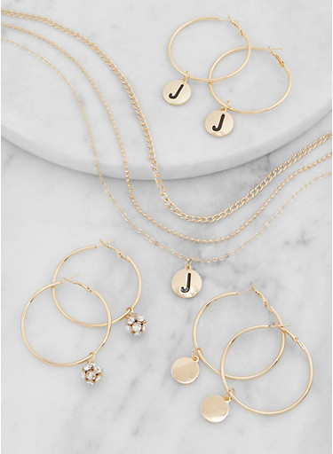 J Initial Layered Necklace and Hoop Earring Trio,GOLD,large