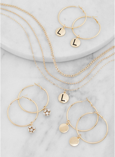 L Initial Layered Necklace and Hoop Earring Trio,GOLD,large