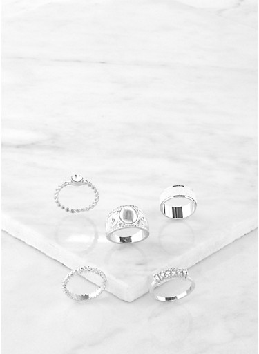 Set of 5 Glitter Rings,SILVER,large