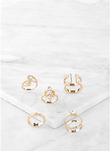 Set of 6 Jeweled Rings,GOLD,large