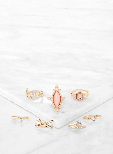 Set of 7 Bejeweled Rings,GOLD,large
