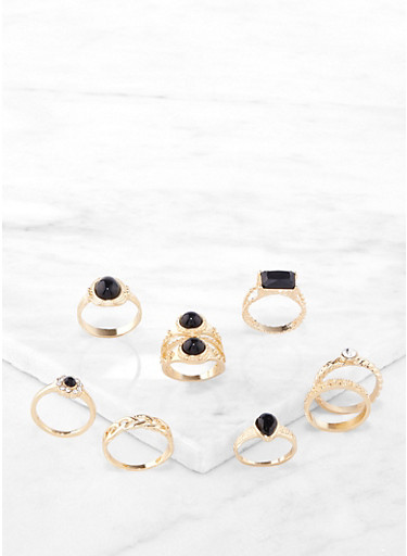 Jewel Accent Statement Rings,GOLD,large
