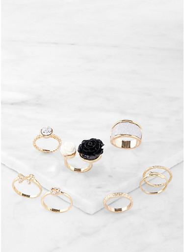 Assorted Rose Ring Set,GOLD,large