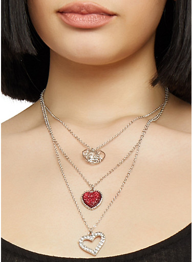 Layered Heart Necklace with Hoop Earrings,SILVER,large