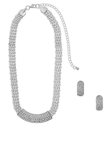 Rhinestone Metallic Mesh Necklace and Earrings,SILVER,large