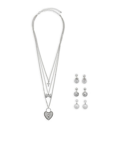 Layered Charm Necklace with 3 Reversible Stud Earrings,SILVER,large