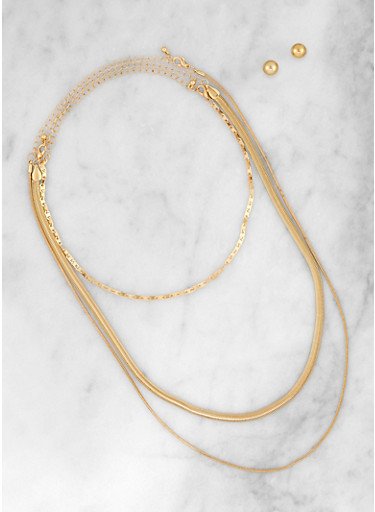 Snake Chain Necklace Trio with Stud Earrings,GOLD,large
