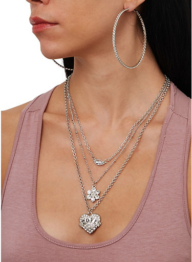 Love Charm Layered Necklace and Hoop Earring Trio,SILVER,large