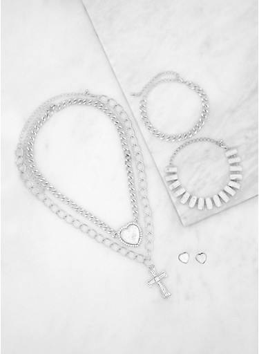 Layered Cross and Heart Necklace with Bracelets and Earrings,SILVER,large