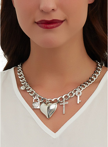 Puffed Heart Curb Chain Necklace with Bracelet and Earrings,SILVER,large